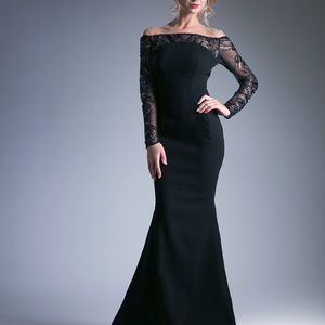 Long Sheer Sleeves Mermaid Prom Dress CD15078